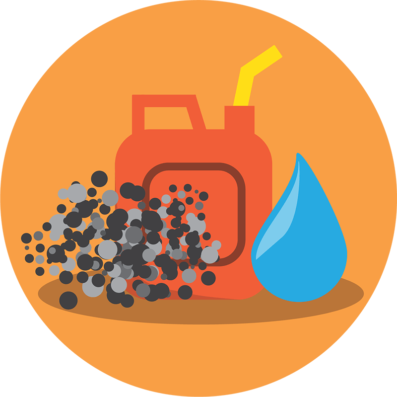Fuel oil container, exhaust particles, and a water drop