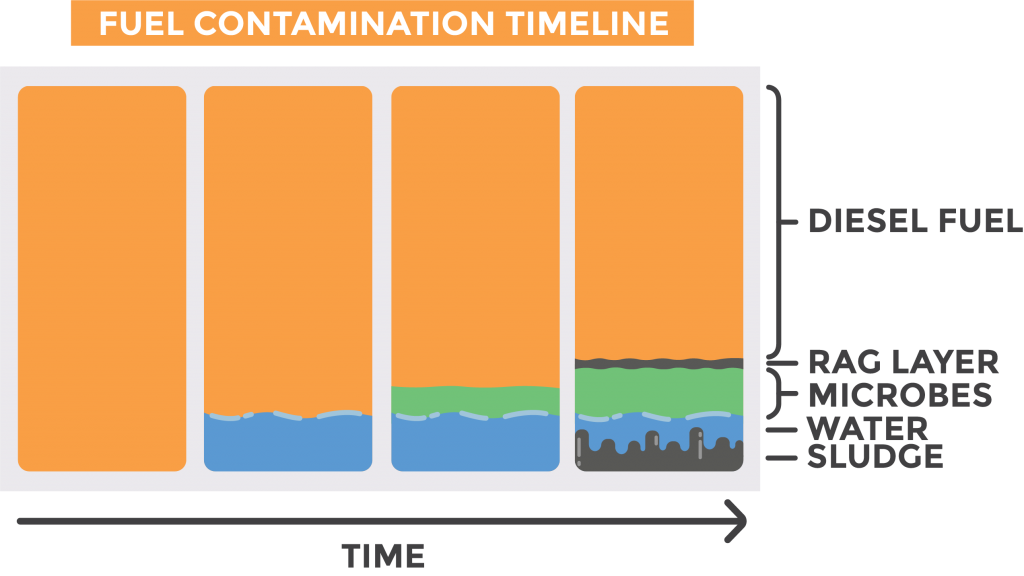 Graphic depicting the development of fuel contaminates in diesel fuel overtime