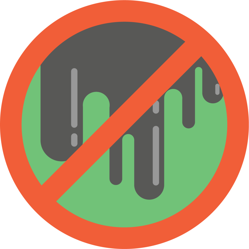 Graphic of a crossed out sludge icon