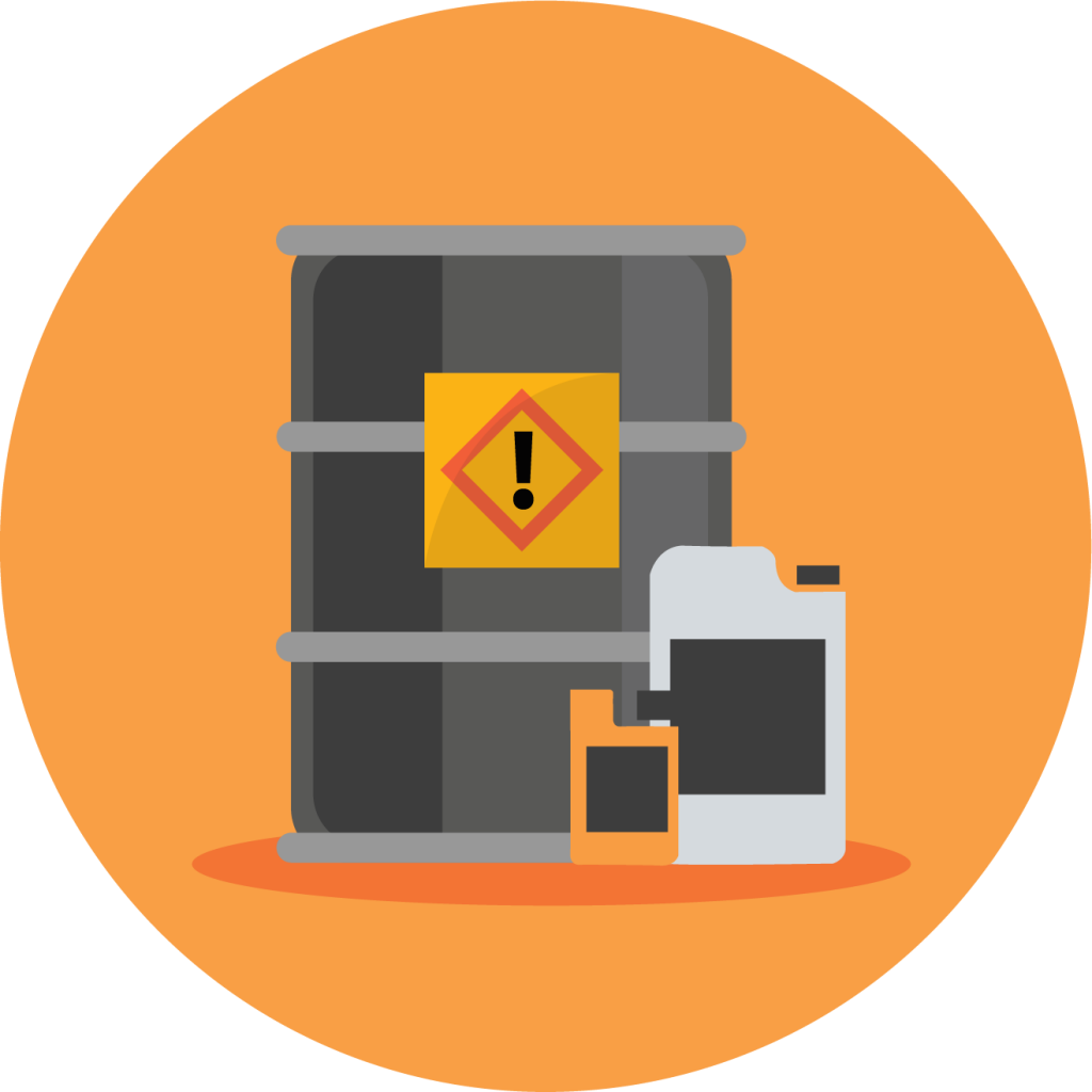 Graphic of a fuel oil drum and additive containers