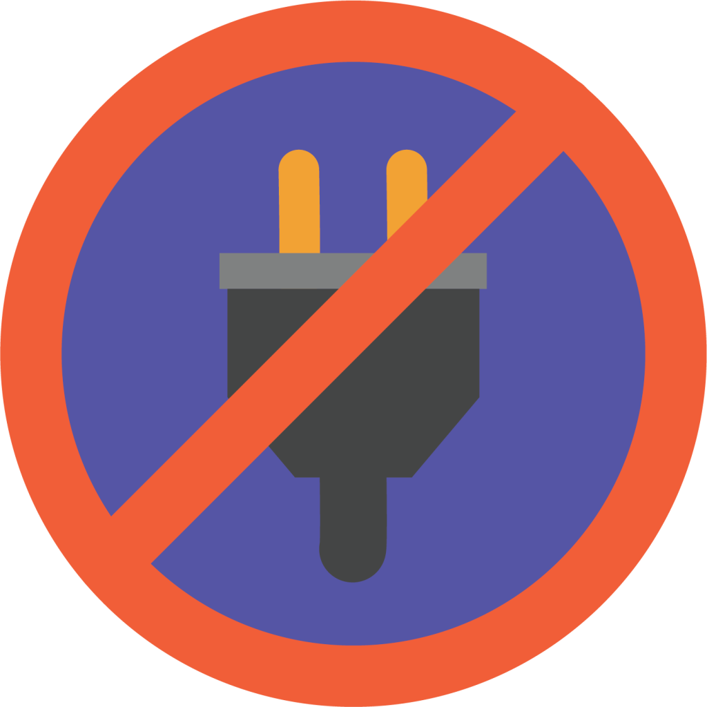 Graphic of a crossed out power plug