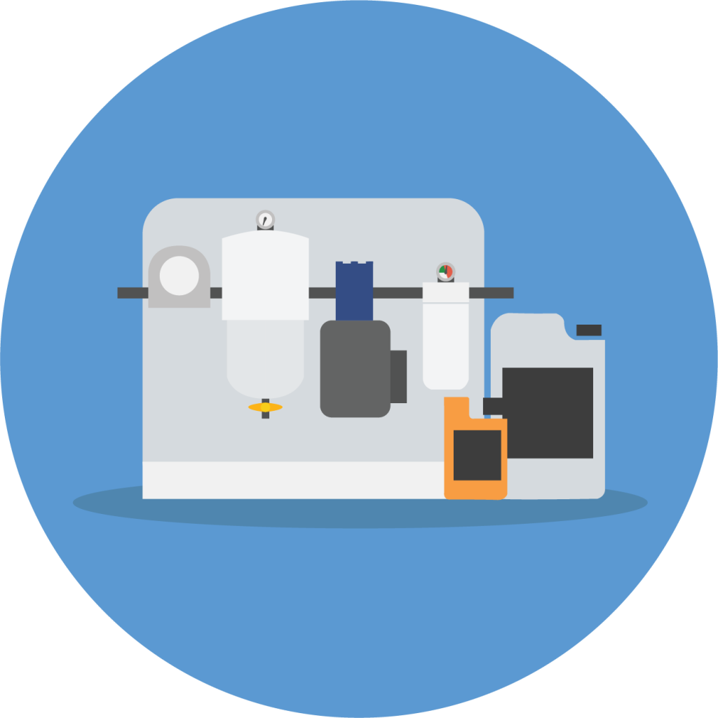Graphic of a fuel maintenance system and additive containers