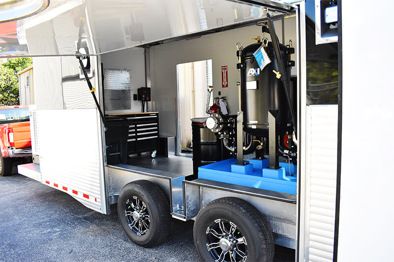 Fuel Polishing Trailer with concession window open showing easy access to fuel polishing system inlet and outlet.
