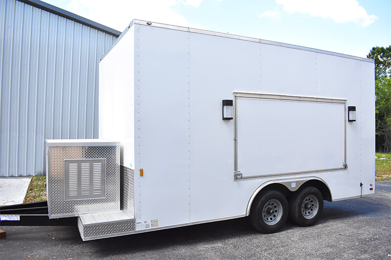 Fuel Polishing Trailer showing aluminum siding and dual axle trailer.