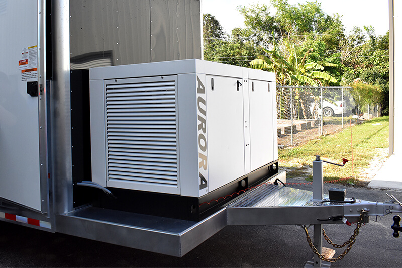 Fuel Polishing Trailer with diesel generator mounted on the trailer tongue for powering electrical accessories.