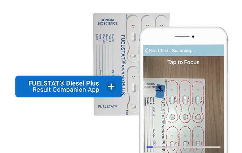 Smartphone using the FUELSTAT app to scan a fuel contamination test for results